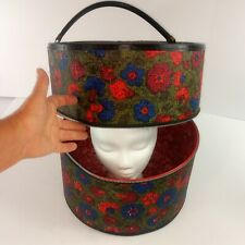 Mid Century Modern Vtg Atomic Wig Hat Box Travel Case Zipper Red Blue Floral