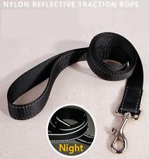 Nylon Dog Lead With Handle Reflective Black