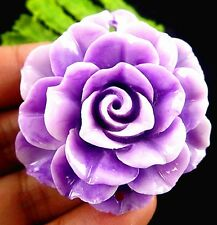 Beautiful purple Giant clam carved flower pendant bead 50x18mm BD273