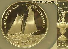 Rare Samoa 1987 25 Tala NGC PF-68 UC~Americas Cup Race~5 oz Silver~Oversize~Fr/S