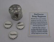 u SUNFLOWERS BRING HAPPINESS PRAYER BOX charm Sunflower grateful blessed triplet