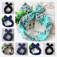 Women.Ladies.Girls Cute Wire Bunny Ear adjustable bow scarf Hair head band Wraps