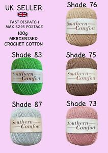 Twilleys Southern Comfort 100g Mercerised Cotton Crochet NEW Five Colours