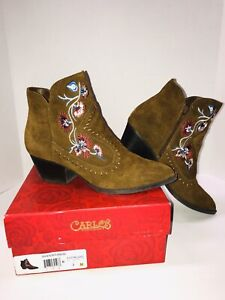 Brown Suede Ankle Boots Carlos Santana Vivien Embroidered  Sz. 7M