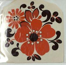Large ceramic decals orange flowers with brown trim lot of 12
