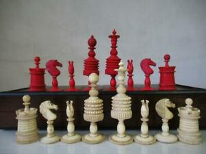 ANTIQUE CHESS SET  CLUB SIZE K 113 mm PLUS OLD FOLDING BOARD-BOX