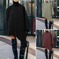 ZANZEA Damen Kragen Knopf Poncho Cape Outwear Mode Asymmetrisch Umhang Cardigan