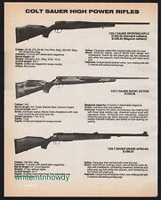 1986 COLT Sauer Sporting, Short Action, Grand African Rifle AD