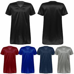 Men's Silk Satin Nightshirt Sides Split Short Sleeve V-Neck Casual Lounge Top