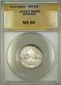 1914-F Germany 1M Mark Silver Coin ANACS MS-66