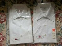 2 Vintage white Dress Shirts 15 Towncraft tapered Penn-Prest Penneys LS SS NOS