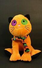 """Fiesta Halloween Cat Kitten Plush Stuffed animal 9"""" Orange kitty w/ glitter eyes"""