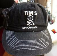 NEW Vtg BLACK Denim Hat Cap Snap Back SLIT COLORADO GRAPHIC Logo Farmer