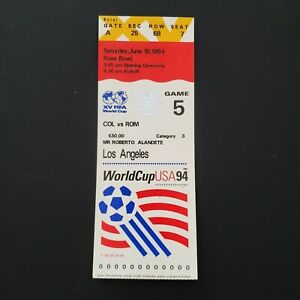 2 World Cup 1994 Ticket Stubs Game 5 - Rose Bowl - Colombia v Romania