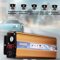 Solar Inverter 2000W 12V/24V DC - 220V AC Modified Sine Wave Power Converter USB