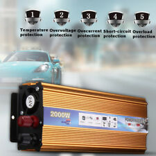 Solar Inverter 2000W 12V/24V DC to 220V AC Pure Sine Wave Power Converter USB