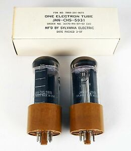 New Old Stock Pair Sylvania JAN 5931 (Premium 5U4) Ham Radio Amplifier Tube NIB
