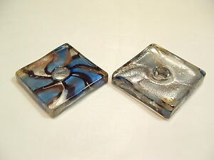 1 x Foil Lined LARGE Glass Pendant  : BNFP49