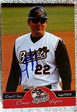 Houston Astros Omar Lopez Signed 2013 Quad City River Bandits Card Auto