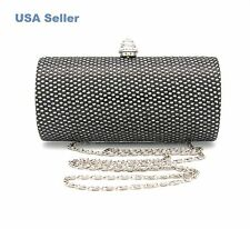 Black Silver Bling Bling Rhinestones Box Case Clutch Party Purse Evening Bag New