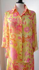 Schöne BLUMEN ROSEN ESCADA LUXUS pink Bluse blouse 38/40 SEIDE Hochzeit Paisley