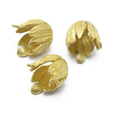 30x Brass Bead Cap Flower Unplated 15xmm Cone End Cap Bead Cover Jewelry Finding