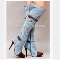 Details zu Damen Stiefel Jeans Stiefel Designer Stiefel Dijea Collection Denimboots