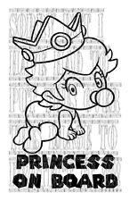 Cute Princess on board Peach Baby super mario kart retro game vinyl sticker sign