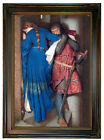 Burton The Meeting on the Turret Stairs Wood Framed Canvas Print Repro 12x18