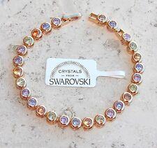 Diana Bracciale tennis pl oro 24k,cristalli colorati ,Uomo Donna,braccialetto
