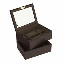 Stackers Men's Set of 2 Casual 16pc Glass Lidded Khaki Canvas Watch Box
