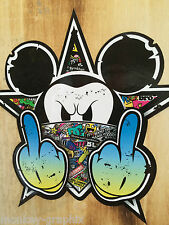 2x stickerbomb coloré old school Mickey sticker autocollant Biker des autocollants