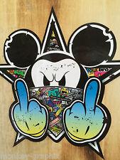 Stickerbomb bunt Oldschool Mickey Sticker Aufkleber Biker Autoaufkleber