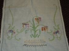Vintage Hand Embroidered Table Runners Floral Flower Basket