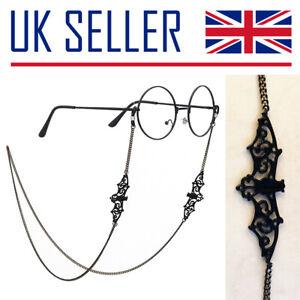 Bat Glasses Chain Cord - Holder, Spectacles, Eye, Gothic, Horror, Black, Retro