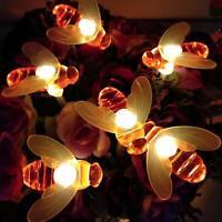 20 50 LED Solar Bienen Lichterkette Garten Außen Outdoor Beleuchtung Lampe Party