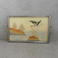 Antikes Tablett mit Hinterglasmalerei, Metallrahmen mit Holzboden, Motiv Fasan