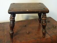Antique Rustic Small Four Legged Solid Oak Milking Stool (Farmhouse Turned Legs)