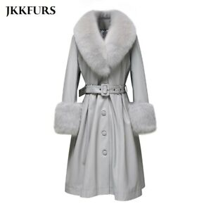 Women's Trench Coat Long Sheepskin Leather Jacket with Real Fur Collar Cuff33636
