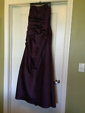 DAVID'S BRIDAL WOMEN LONG AUBERGINE PURPLE STRAPLESS SATIN FORMAL GOWN 10