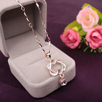 Neu 925 Silver Plated Fashion Women Double Heart Pendant Necklace Chain Jewelry