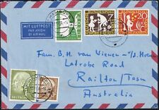 1142 GERMANY TO AUSTRALIA AIR MAIL COVER 1959 HEUSS HAMBURG - RAILTON, TAS