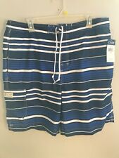 Mens Chaps Swimming Shorts Blue And White Stripe Size XL NWT
