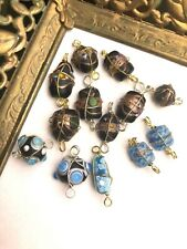 Vintage Lampwork Wire Wrapped Glass Bead Connector 13 Pc Asst. Lot Blue & Black