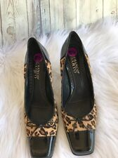 Franco Sarto Leopard Print Shoes Patent Leather High Heel Pumps Size 8.5