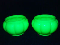 Pair of Victorian Uranium Opaline Glass posy vases