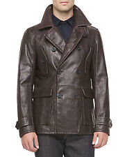 New $1250 Vince Double-Breasted Leather Car Coat Jacket Top Dark Brown XL