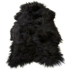 Icelandic Long Wool Lambskin Sheepskin Fur Rug Skin Leather Hide 100% Black