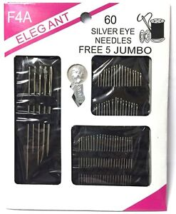 SILVER EYE NEEDLES & PINS STITCH & SEW SEWING SET WITH FREE 5 JUMBO Needle 60PC