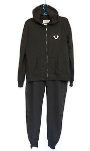 True Religion Women's Tracksuit, Hoodie , Pants, Gold Print Logo, black, Size L